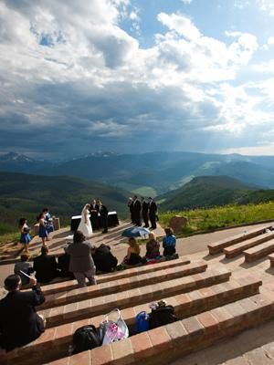 The Most Amazing Wedding Venues in the World Vail Mountain, Vail, ColoradoYou won't have trouble finding a venue with mountain views out West. But what makes Vail Mountain stand out is the Wedding Deck, an outdoor amphitheater built into the mountain -- so your guests look down at you exchanging vows, with the Rockies below, for the most dramatic ceremony vantage point you could ever treat them to
