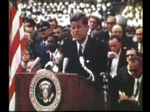 """JFK - We choose to go to the Moon, full length. """"Not because they are easy but because they are hard."""""""