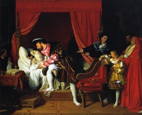Morte di Leonardo da Vinci, 1818, olio su tela,  Musée du Petit Palais, Parigi