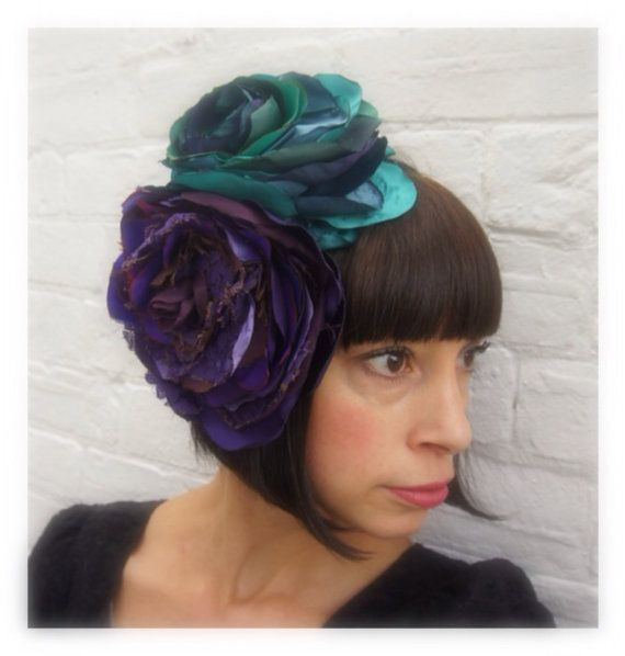 Purple+and+teal+vintage+recycled+fabric+antique+lace+by+hapitat