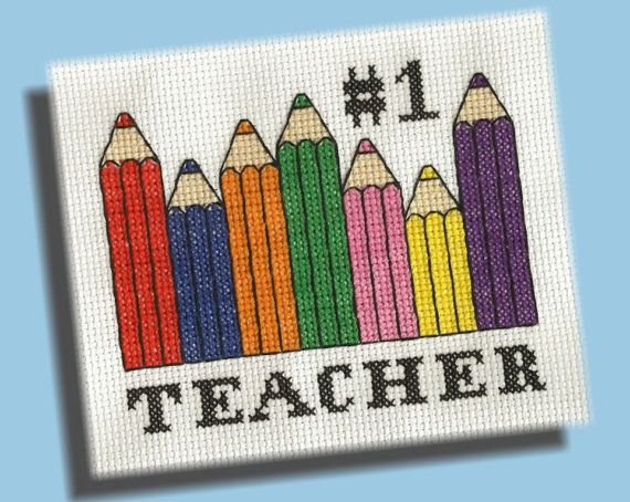 Back To School Cross Stitch Pattern Number One by KittyCrackernuts, $3.50