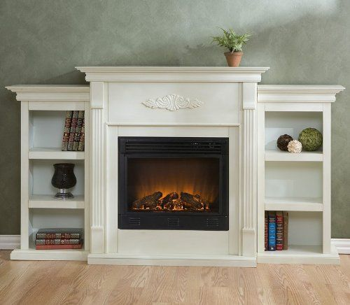 Cheap Electric Fireplaces | Cheap Tennyson Electric Fireplace with Bookcases Antique White Finish ...