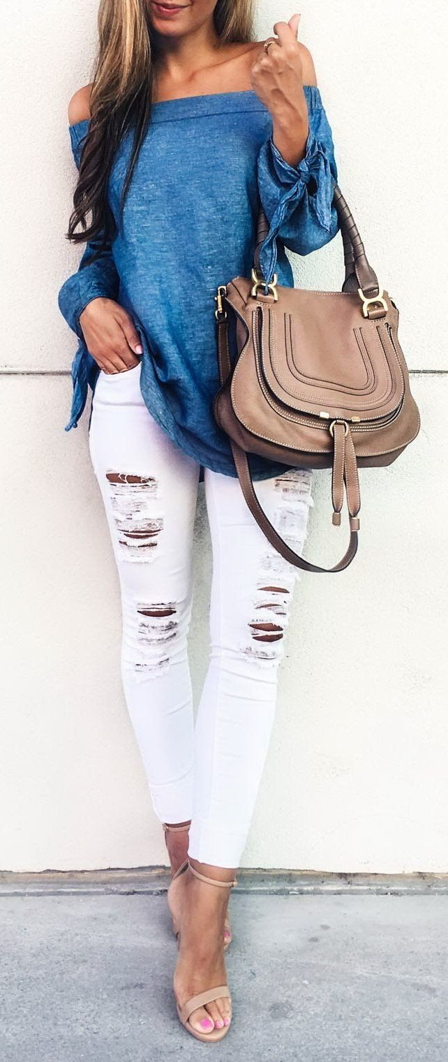 summer outfits Blue Off The Shoulder Top + White Ripped Skinny Jeans + Nude Sandals