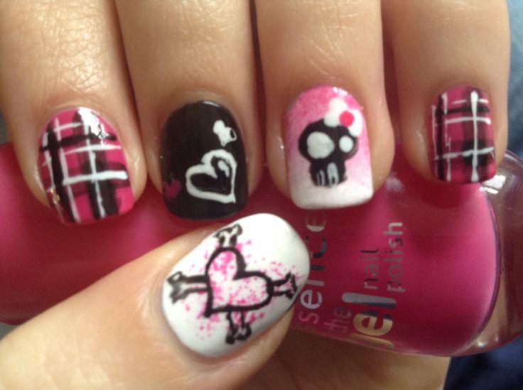 Aveil Lavigne inspired girly-punk nail art