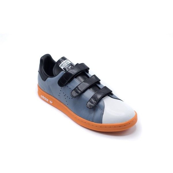 Raf Simons Adidas By Raf Simons Stan Smith Comfort Sneakers  ... ($275) ❤ liked on Polyvore featuring shoes, sneakers, blue, blue leather shoes, round cap, velcro shoes, leather shoes and low profile sneakers
