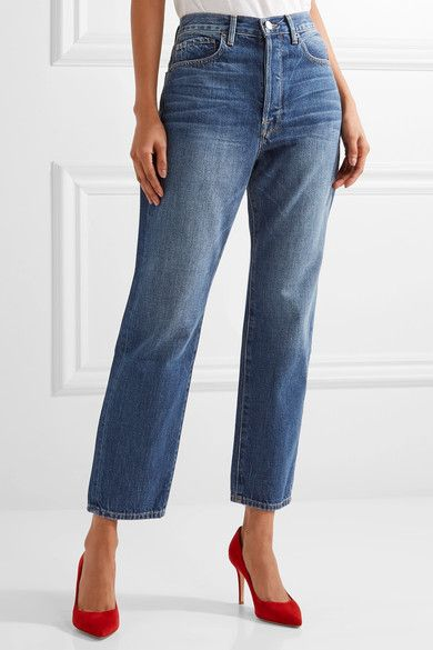 FRAME - Le Original Cropped High-rise Straight-leg Jeans - Blue - 23