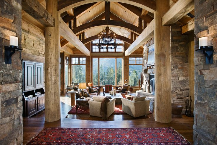 Greatroom timberframe massive structural logs stone for Amazing houses inside