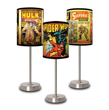 Classic Comic Book Themed Lamp Shades - We do custom lamp shades a lot. It is a great special touch.