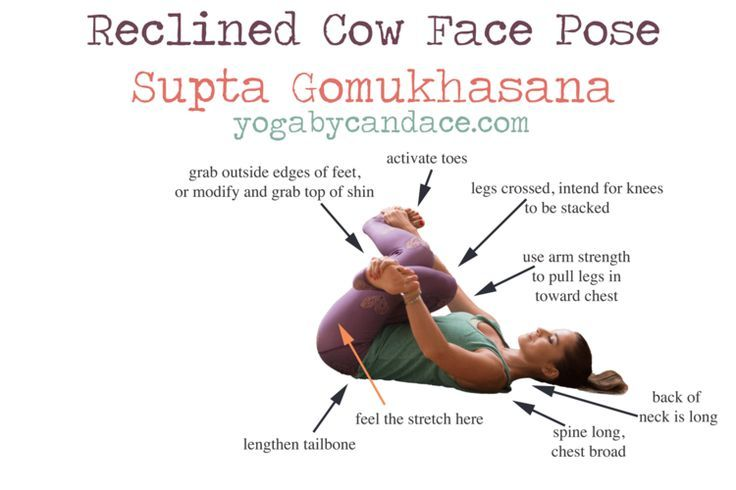 reclined cow face pose -
