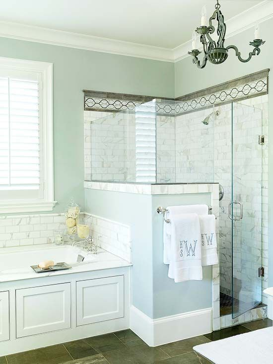 Wall shower tiles needed to be taken right to the window edge.  The bath also needed an extra shelf above bath taps or a slightly wider window sill for bathing essentials, eg. candles, & the other items in the corner of the bath near taps.  Glass is too dangerous where it is.