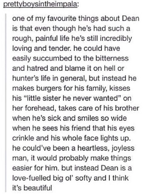 This made my day, then it made me cry cause it looks like the writers are going to ruin Dean's character and make him a monster and I can't handle it.