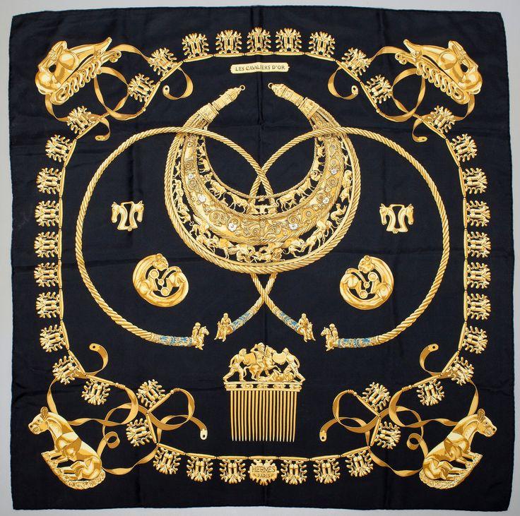 """Vintage Hermes 35"""" silk scarf """"Cavaliers d'Or"""" by Vladmir Rybaltchenko, 1st issue 1975"""