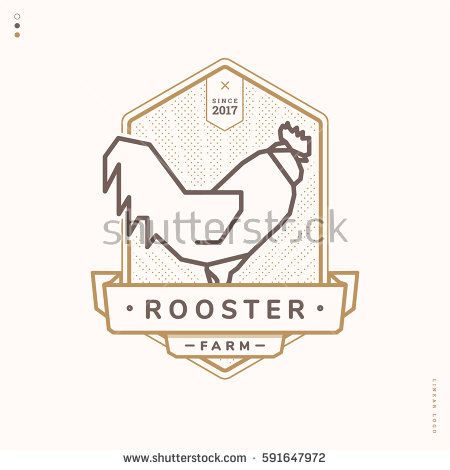 rooster linear logo, vintage badge