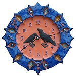 Ravens Wall Clock in Terracotta & Sapphire with Marbles by Beth Sherman. Birds are powerful symbols of the wild, flight, freedom and beauty. Ravens and crows are intelligent beautiful creatures that live among us. The contrast between the richly-colored, unglazed terracotta center and the lustrous glazed edge adds further beauty to this clock. This is an original design that is sculpted in low relief, slip cast in low-fire ceramic slip, and finished with low-fire ceramic glazes. The clock...