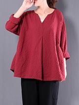 Casual Linen 3/4 Sleeve Gingham Linen Plus Size Blouse 7