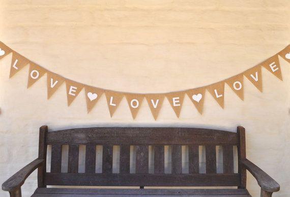 LOVE LOVE LOVE Banner Valentine Hessian Burlap Nursery Baby Children Celebration Wedding Engagement Party Bunting Decoration Baby Shower