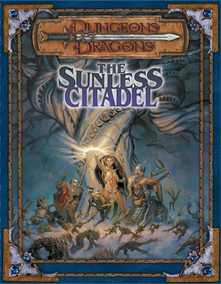 The Sunless Citadel (3e)   Book cover and interior art for Dungeons and Dragons 3.0 and 3.5 - Dungeons & Dragons, D&D, DND, 3rd Edition, 3rd Ed., 3.0, 3.5, 3.x, 3E, d20, fantasy, Roleplaying Game, Role Playing Game, RPG, Open Game License, OGL, Wizards of the Coast, WotC, TSR Inc.   Create your own roleplaying game books w/ RPG Bard: www.rpgbard.com   Not Trusty Sword art: click artwork for source