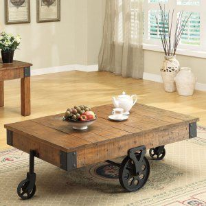 Coaster Furniture Wood Coffee Table with Casters - Bring a rustic touch to your setting with the Coaster Furniture Wood Coffee Table with Casters . Its wheeled base makes this table easy to move just...