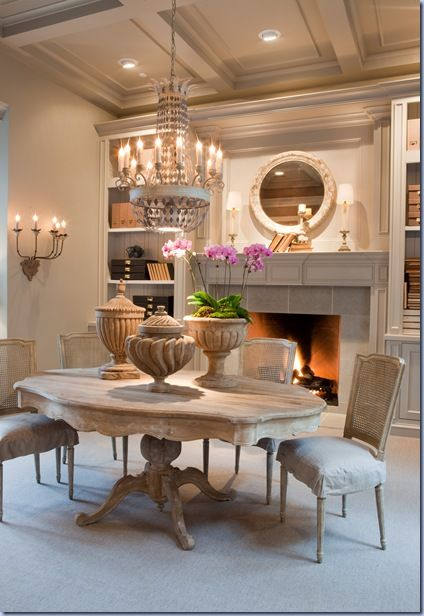 b e a u t i f u lDining Rooms, Dining Area, Decor Ideas, Fireplaces, Dinning Room, Interiors Design, Diningroom, Neutral Tone, Dining Tables