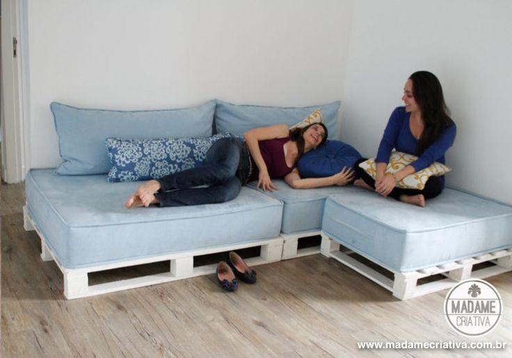 Como fazer um sofá de pallets - Dicas e passo a passo com fotos para fazer Sofá de palete -  marcenaria simples - Tutorial with pictures - How to make a pallet sofa - DIY - Madame Criativa - www.madamecriativa.com.br