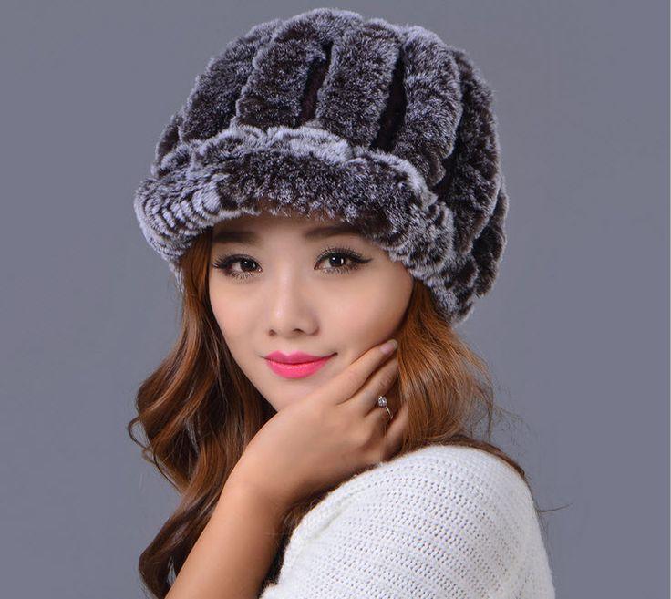 100% кожа рекс кролика волосы настоящее меховая шапка зимой сплошной козырьки женские головные уборы мужская мужская шапка