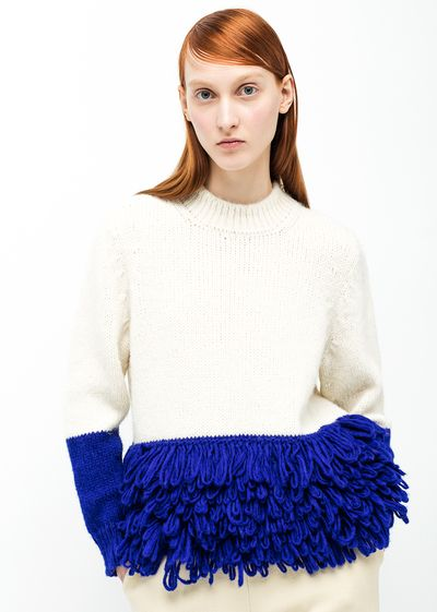 Delpozo - Fringed Alpaca Pullover: Natural white wool cable-knit sweater with blue fringes