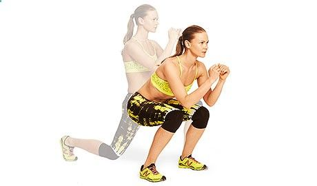 Excersices For Legs At Home and At The Gym - Double Jump: Stand with feet hip-width apart and arms by sides. Lower into a deep squat and bring hands together in front of chest. Jump as high as you can and land in lunge position with left leg forward (bend both knees 90 degrees). Jump as high as you can again and land in squat position. Repeat the lunge-squat jump combo, landing with right leg forward. Continue for 45 seconds, alternating sides. - Strengthening our legs is an exercise t...