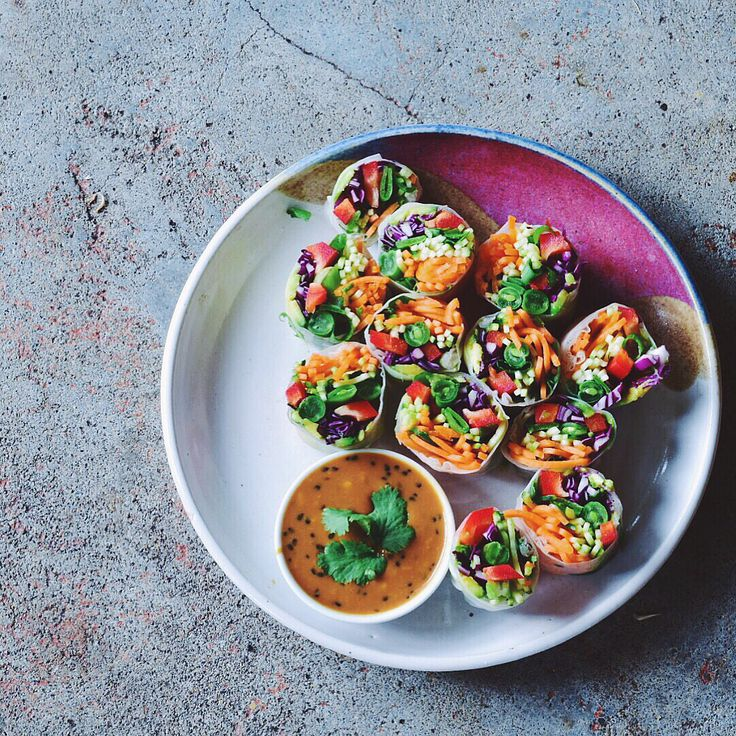 9 best rainbow bowls images on pinterest buddha bowl vegan crunchy rice paper rolls with peanut sauce whole foodswhole food recipesraw forumfinder Choice Image