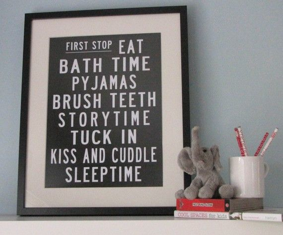 bedtime routine poster  {although if I bought it, I'd have to have her fix the spelling of pajamas...who spells it like that?!}