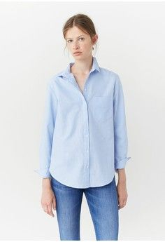 Chest-Pocket Cotton Shirt from Mango in blue_1