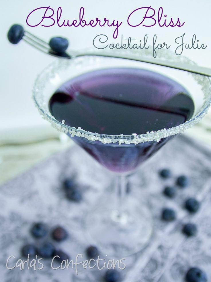 Blueberry Bliss Cocktail [Line martini glass with water and silver sugar; Mix 1/2 c blueberry juice with 3 T blue curacao; Add 1/2 c prosecco and 1/2 c vodka; Shake with ice; Strain into glass]