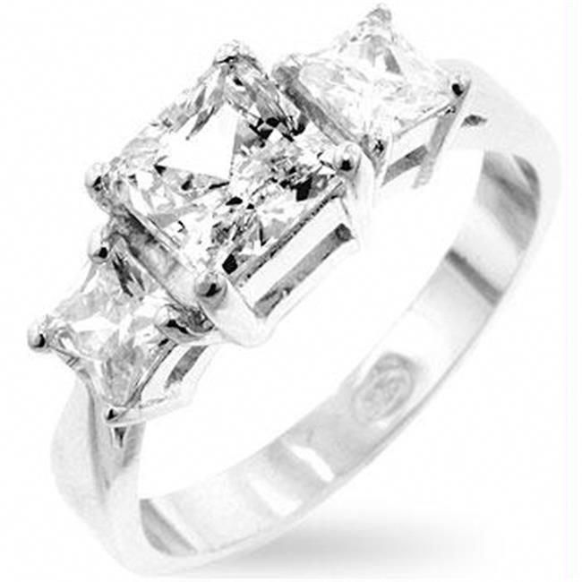 Genuine Rhodium Plated Princess Ring with 6 Carat Garnet Red Cubic Zirconia and Dual Pave Shoulders