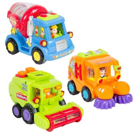 (Set of 3) Push and Go Friction Powered Car Toys, Street Sweeper Trucks, Cement Mixer Trucks, Harvester Toy Trucks