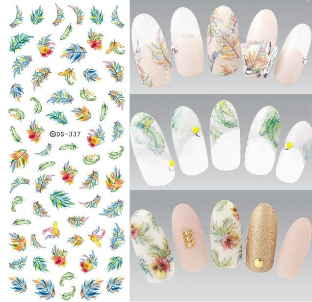 DS337 New Design Water Transfer Nails Art Sticker Harajuku Elements Colorful Feather Leaf Nail Wraps Sticker Manicura Decal