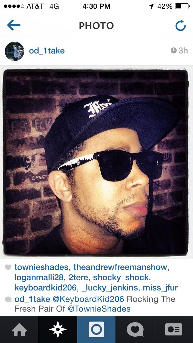 Seattle musician, keyboard kid rockin the fresh pair of townie shades!  Get your own pair at TownieShades.com and use 'townie20club' code to get 20% off at checkout.