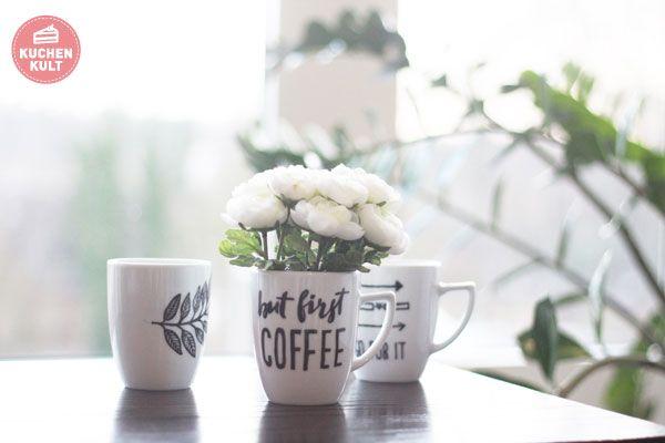 Tassen selbst gestalten Tassen selbst bemalen Tassen beschriften Sprüche but first coffee