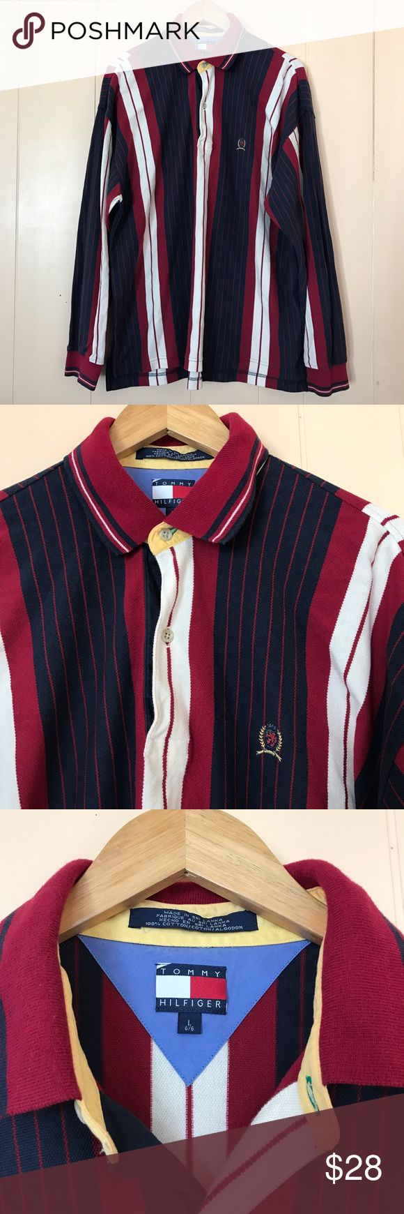 "Vintage Tommy Hilfiger Striped Polo Shirt Brand : Tommy Hilfiger   Size : Large   Materials : 100% Cotton   Condition : In excellent vintage condition.   Measurements :  Chest = 25""  Length = 32"" Vintage Shirts Polos"