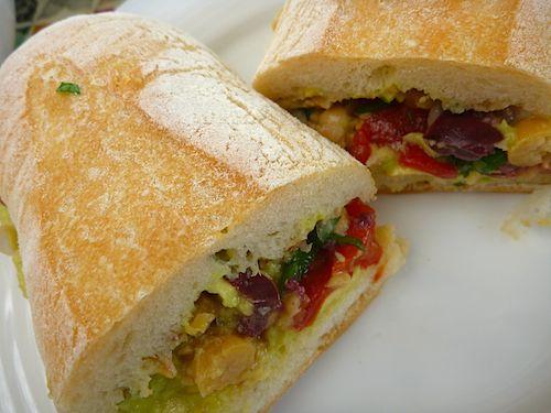 Smashed Chickpea Greek Salad Sandwich Recipe — Dishmaps