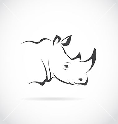 Image of rhino head vector by yod67 on VectorStock®