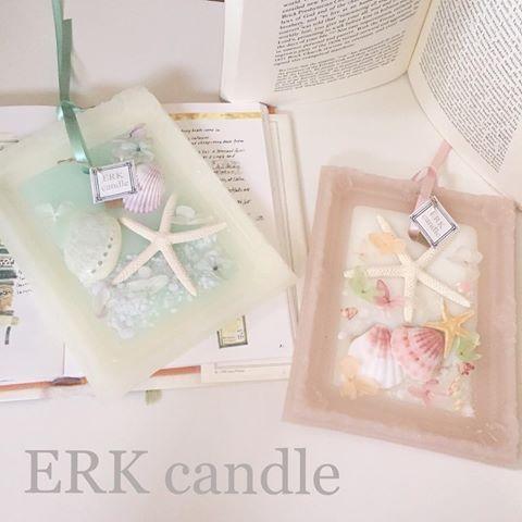 大人マリンのフレームバージョン(o^^o)♡ ピンクもクラシックな色味で(u_u)♡ 香りは色々ミックスでとてもいい香り♡ #candle #aroma #キャンドル #handmade #shell #アロマ #ワックスバー #ワックスサシェ #マリン #大人マリン #貝殻 #スターフィッシュ #フレーム #ERKcandle