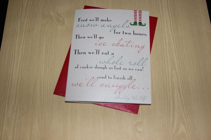 """Christmas Card - """"Let's snuggle"""" Buddy the elf Holiday greeting card by UptownDesignsCanada on Etsy"""