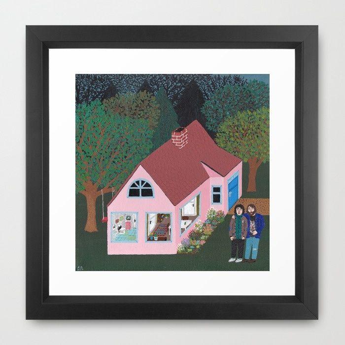 A Rose Dream in the Sticks Framed Art Print by Angela Dalinger I #house #painting #art #AngelaDalinger