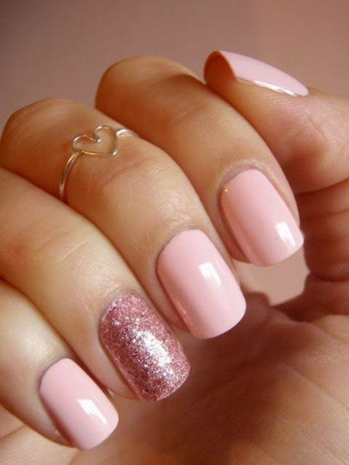 ongles décorés deco ongle gel, idee deco ongle rose pale