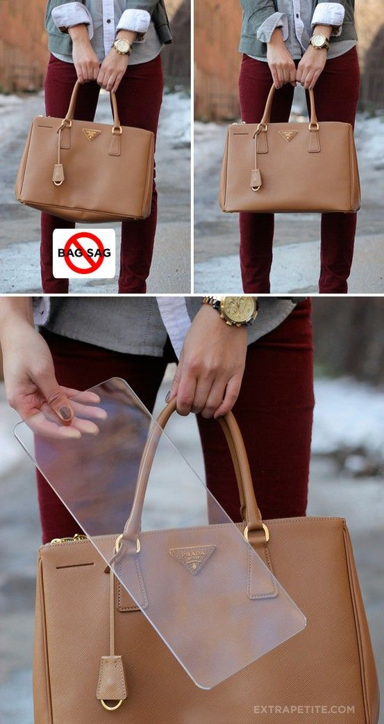 Protect saggy bags with a bag shaper - could use a rounded piece of plexiglass