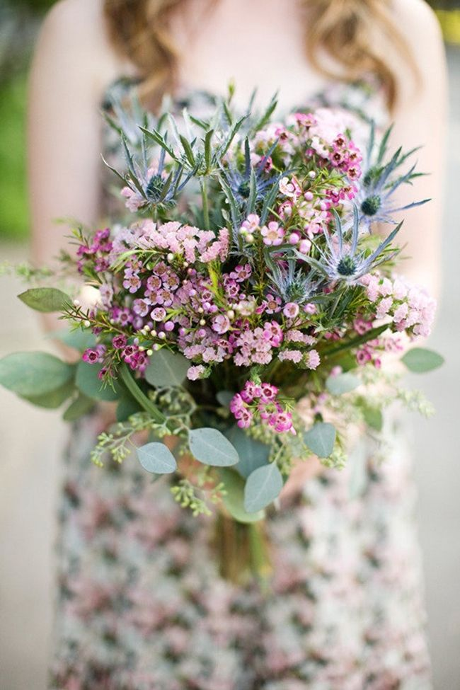 17 Beautiful Wildflower Wedding Bouquet Ideas. Wildflower bouquets are of course an inherent favorite, even if you choose to add just a few wildflowers to your otherwise cultivated arrangement they'll give you a sense of ease and carefree happiness that only strolling along a path blooming with nature's gifts can give. To get an idea of what's in your area visit the Native Plant Database at wildflower.org. Favorites are daisy, waxflower, thistle, heather, wild asters, & bachelor buttons.