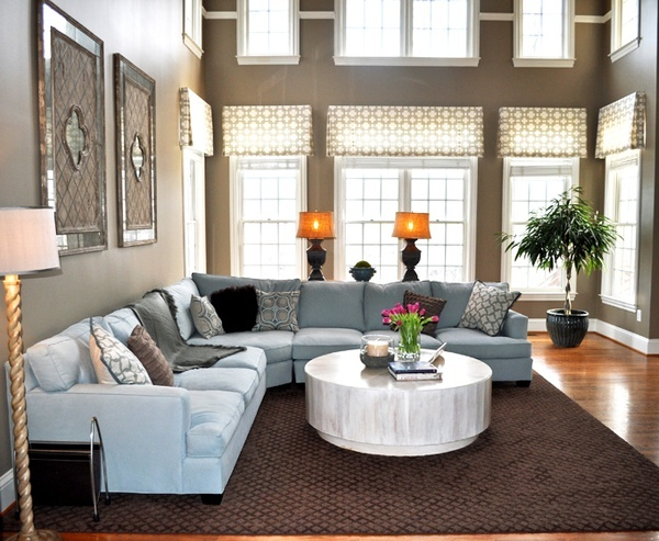 In Love With The Colors Of This Living Room Duck Egg Gray Black White And Brown Look Great