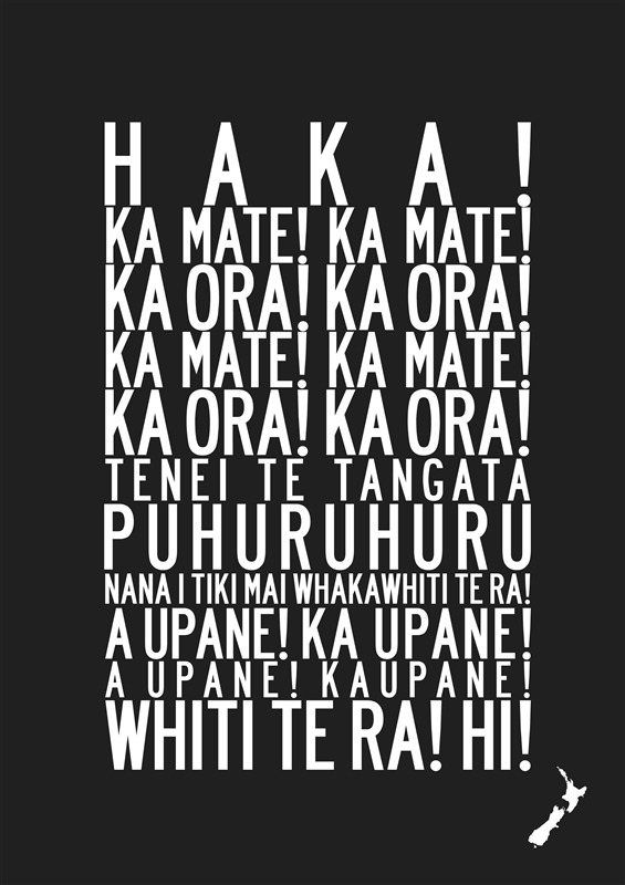 The words of this haka are better known than most. Used by the All Blacks and other NZ sports teams for many years. @ Click Image For Many All Blacks Items from NonBoringGifts.Com…