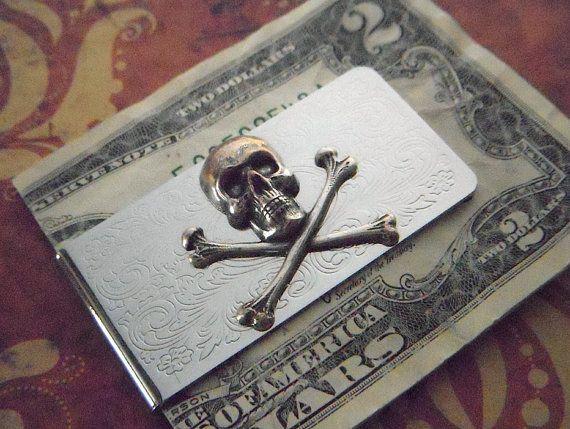 Mens Money Clip Skull And Crossbones Gothic Victorian