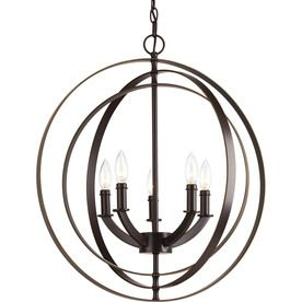 Progress Lighting Equinox 22-in 5-Light Antique Bronze Globe Chandelier