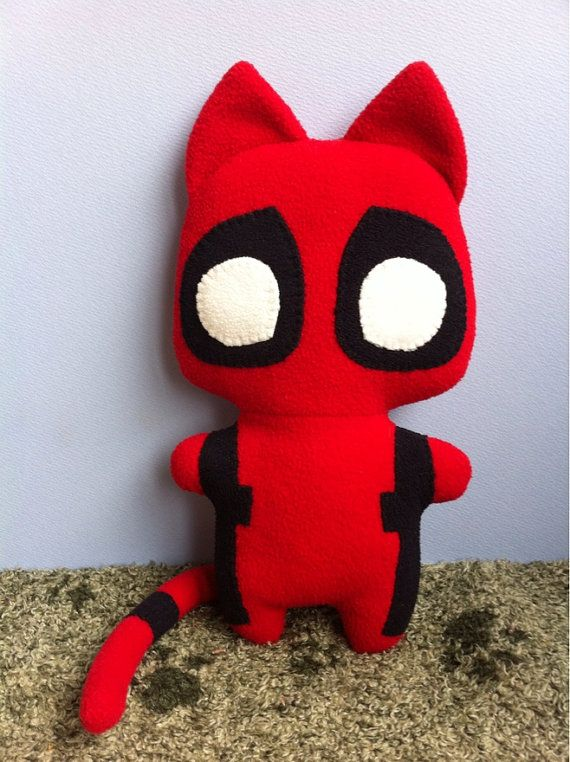 Catpool the Comic Cat Superhero stuffed animal plush by mypetmoon